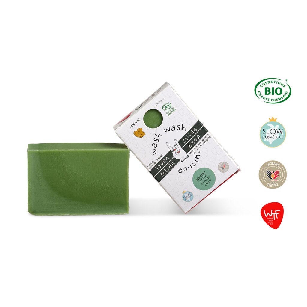 Savon solide menthe verte produit boite